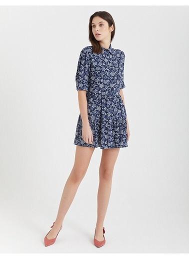 BGN Multirenk - Çiçek Desenli Mini Gömlek Elbise Renkli
